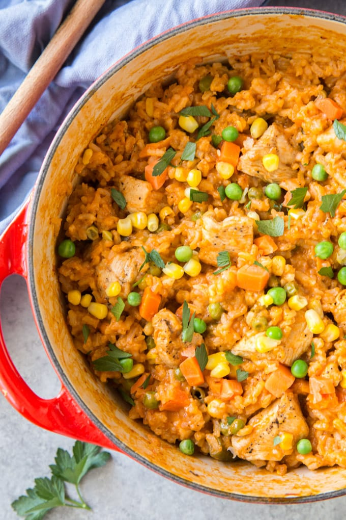 A large pot of mexican chicken and rice