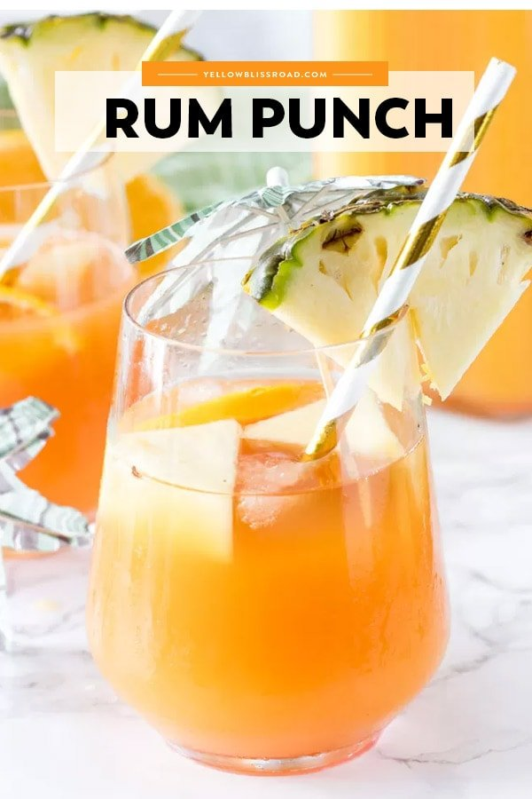 Image of a Rum punch cocktail with text overlay
