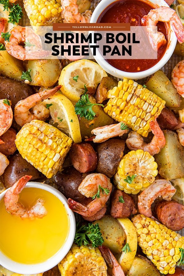 Shrimp Boil Sheet Pan dinner - pinterest friendly image