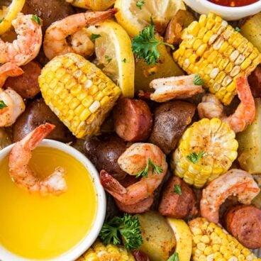 Social media image of Shrimp Boil Sheet Pan dinner