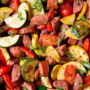 Social media image of smoked sausage and zucchini