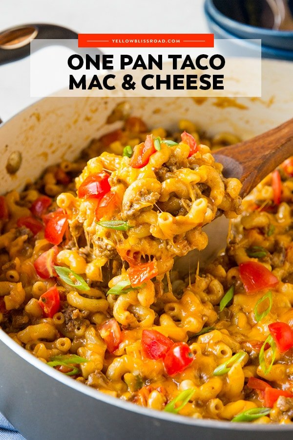 Pinterest friendly image of taco mac and cheese with text overlay