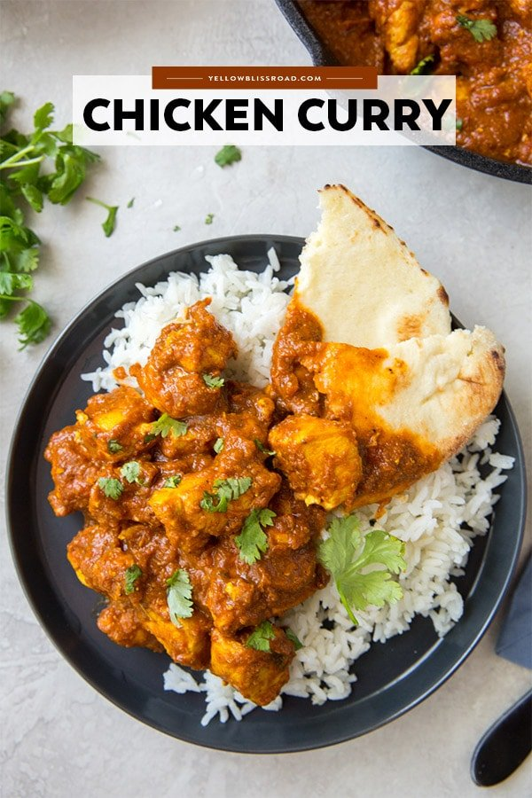 Chicken Curry pinterest friendly image with title text