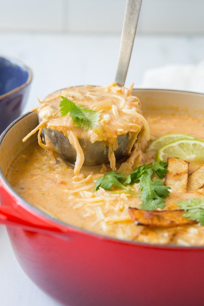 A side view of a ladle lifting out a serving of chicken enchilada soup
