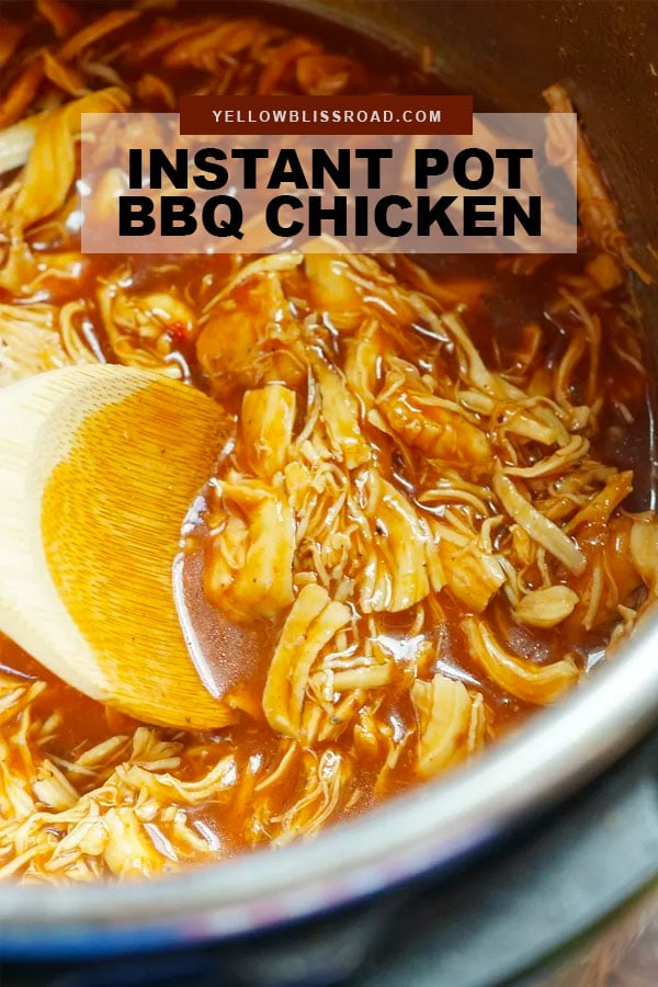 Instant Pot BBQ Chicken pinterest friendly image with text