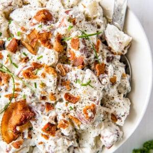 A plate of Bacon Ranch Potato Salad