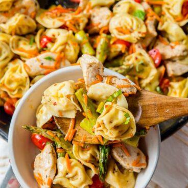 Social media image of chicken tortellini salad