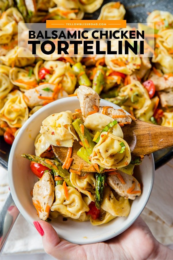 Balsamic Chicken Tortellini Salad pinterest friendly image