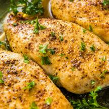 Social media image of baked chicken breasts