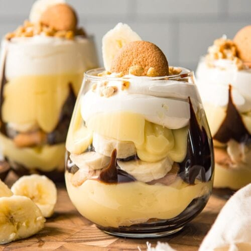 Social media image of Chocolate Covered Banana Pudding Cups