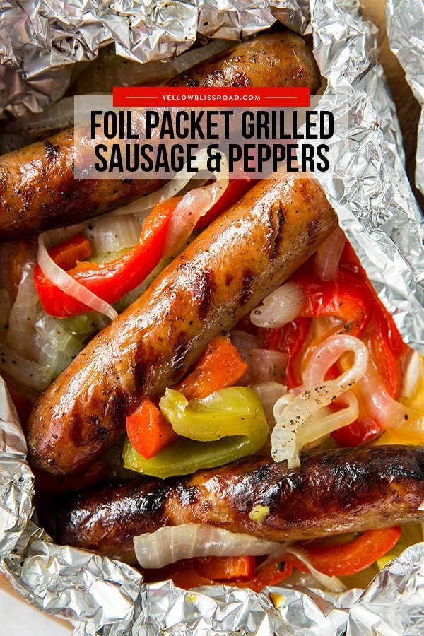 Grilled Foil Packet Sausage and Peppers pinterest friendly image with text overlay.