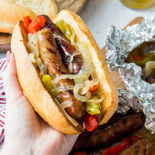 Social media image of sausage and peppers on a hoagie