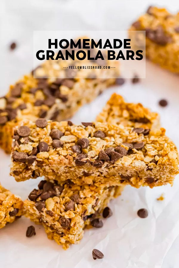 Homemade granola bars pinnable image with text overlay