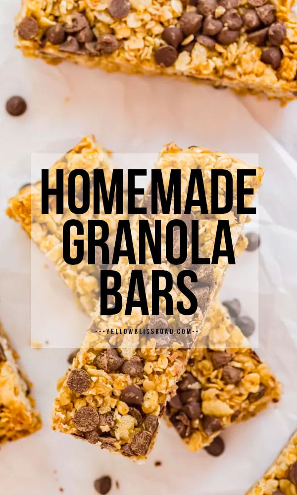 Homemade granola bars pinnable image with text