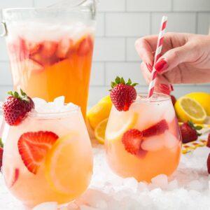 Social media image of Strawberry Lemonade in glasses