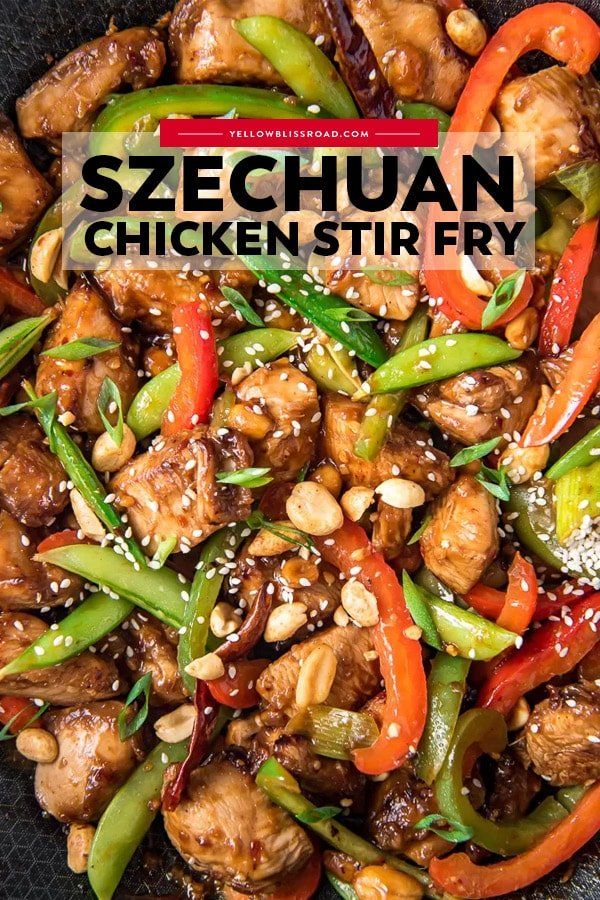 30-Minute Szechuan Chicken Stir Fry pinterest friendly image with text