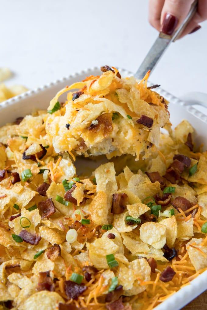 A close up of potato casserole