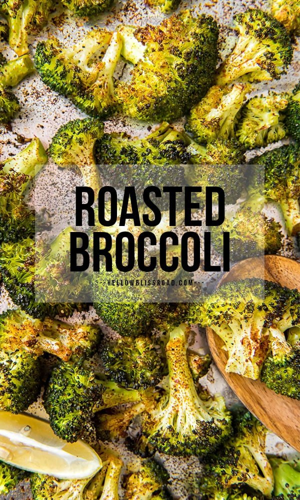 Roasted broccoli pinterest friendly image