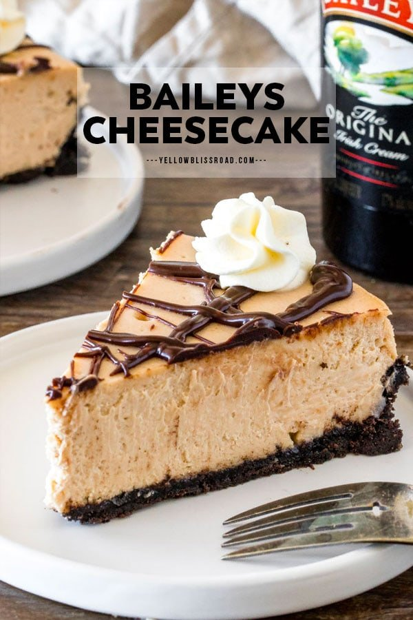 Baileys Cheesecake slice in a pinnable image