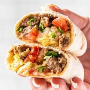 Social media image of breakfast burritos