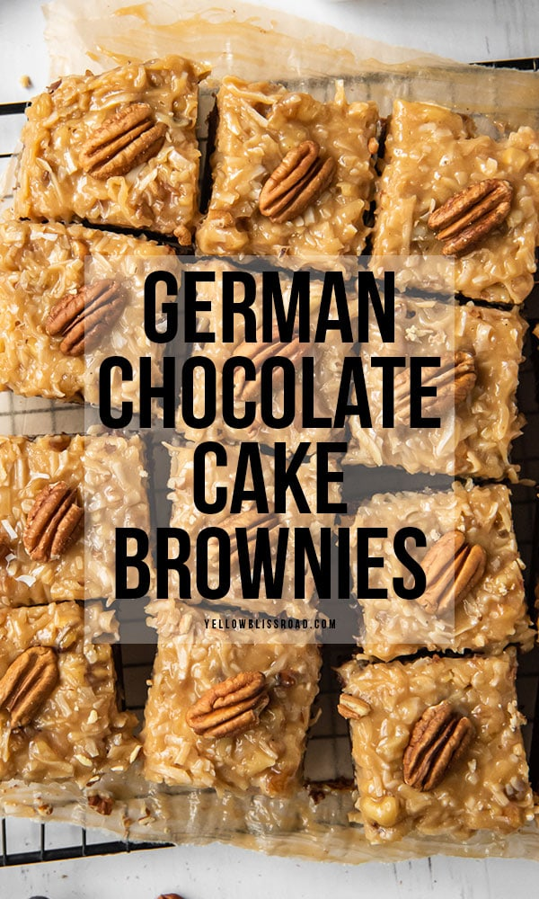 An overhead image of German Chocolate Cake Brownies - a pinerest friendly image with text