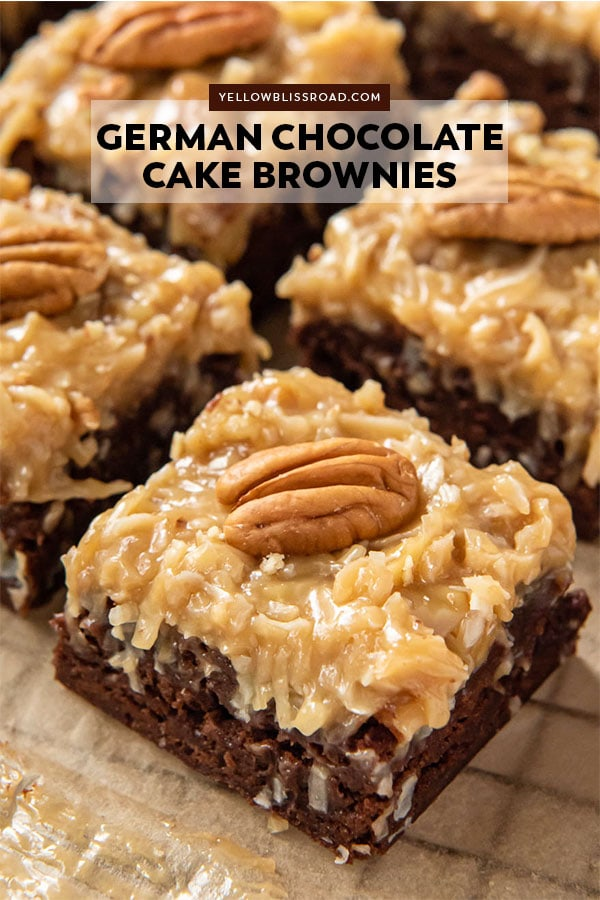 Brownies with german chocolate cake frosting - pinterest friendly image with text