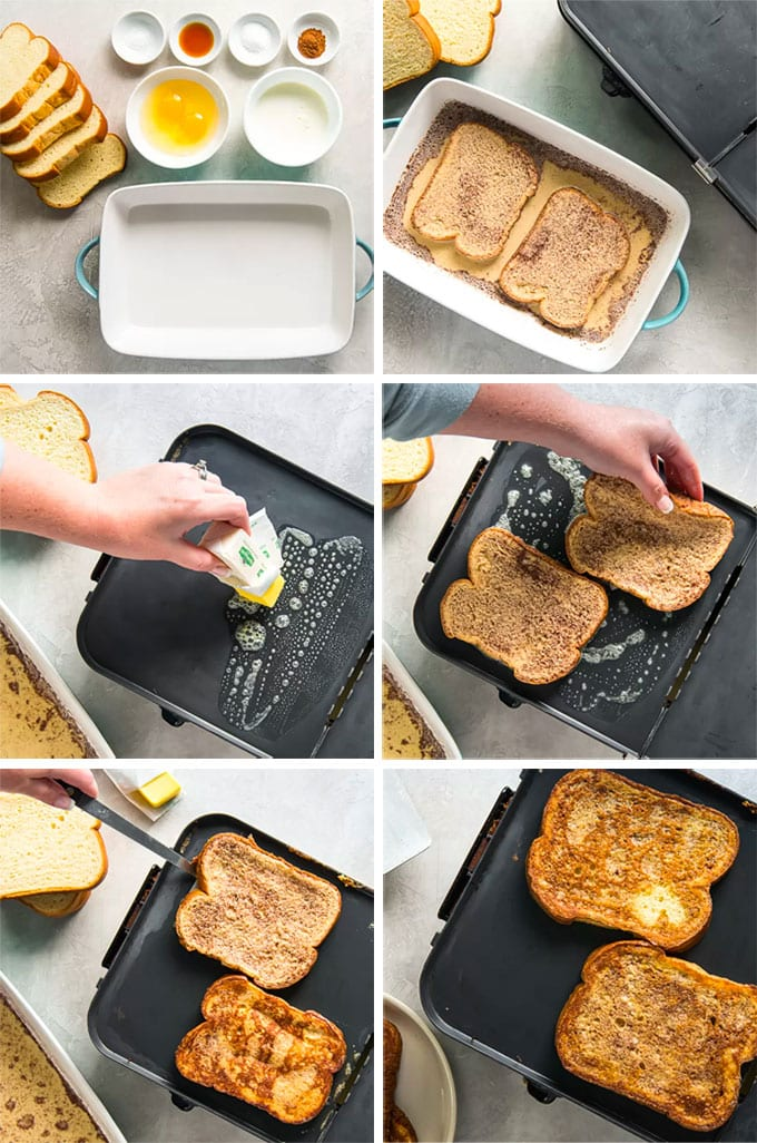 A collage of images depicting the steps for how to make french toast