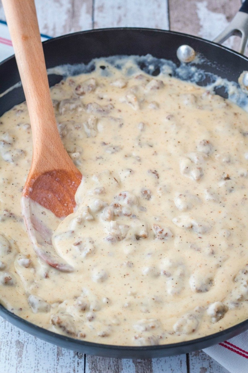 sausage gravy in a skillet after thickening