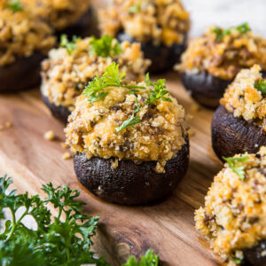 Stuffed mushrooms with breadcrumbs and parsley. Social media image.