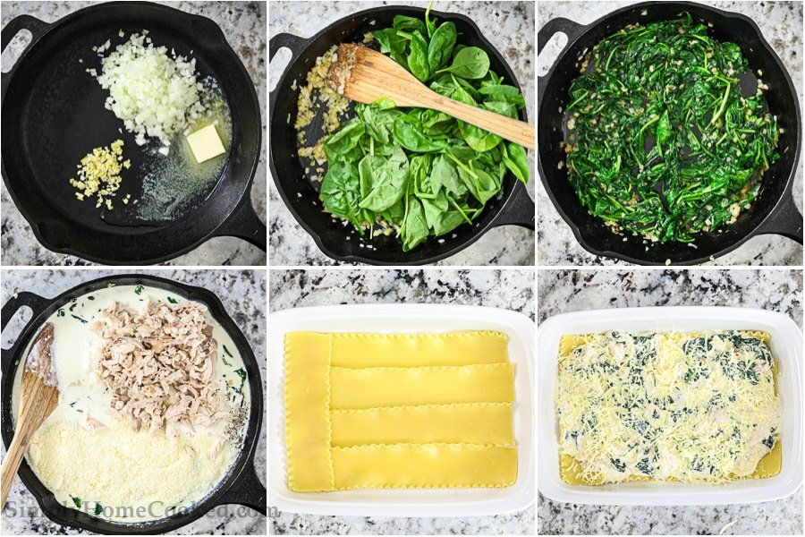 overhead image collage of steps to make Chicken Alfredo Lasagna
