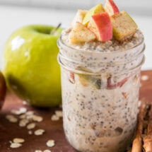 A jar filled with apple cinnamon overnight oats