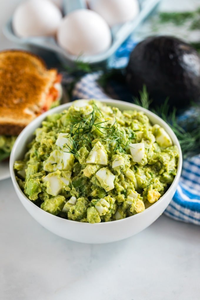 A bowl of avocado egg salad