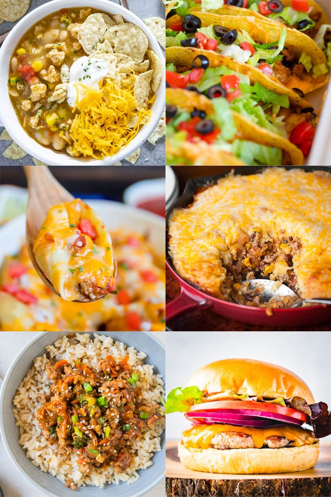 collage of images of recipes that are made with ground turkey