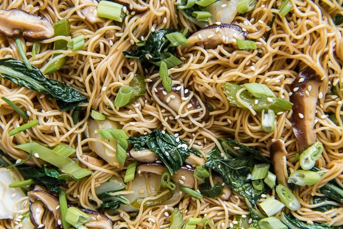 an overhead close up shot of vegetable chow mien