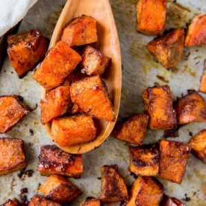 A close up of roasted sweet potatoes