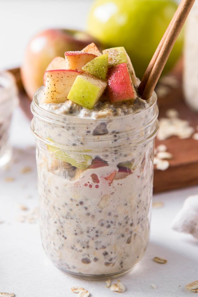 A jar of Apple Cinnamon Overnight Oats