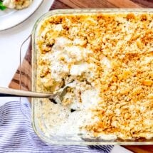 An image of an easy chicken casserole with buttery Ritz cracker topping.