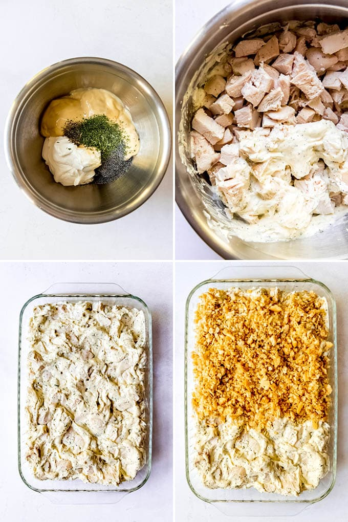 A collage of images showing step-by-step how to make poppy seed chicken.