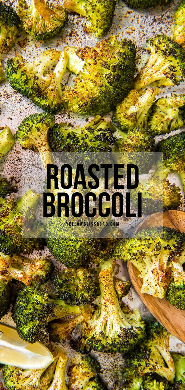 roasted broccoli pinterest friendly image with text overlay