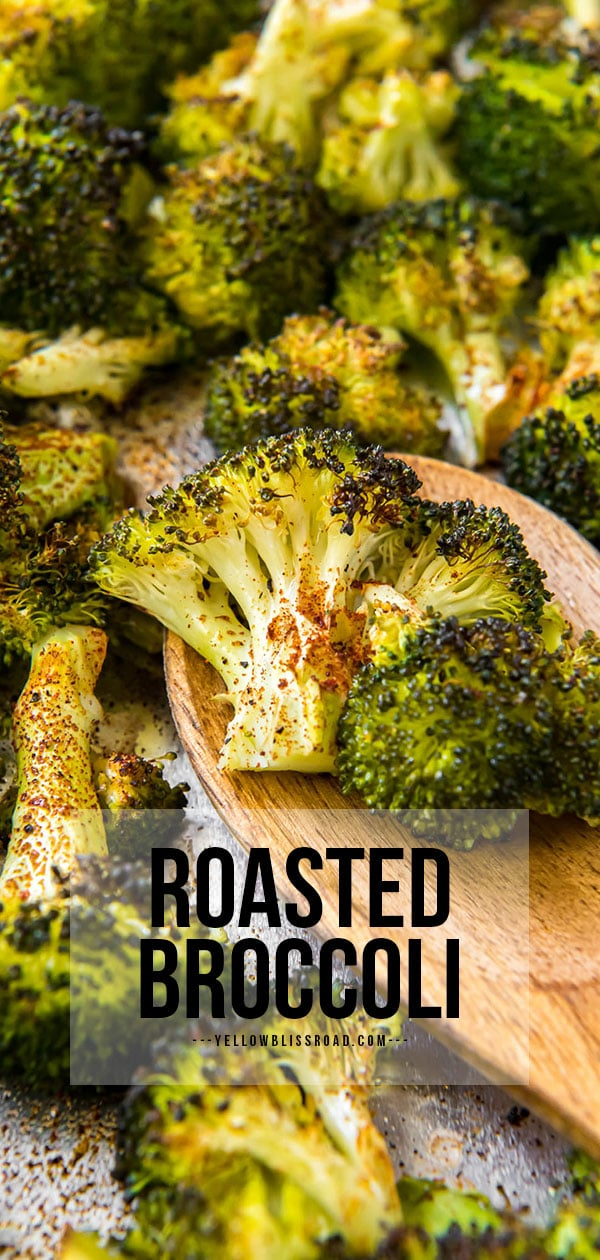 Pinterest friendly image of roasted broccoli with text overlay