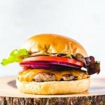 Turkey Burger on wood board.