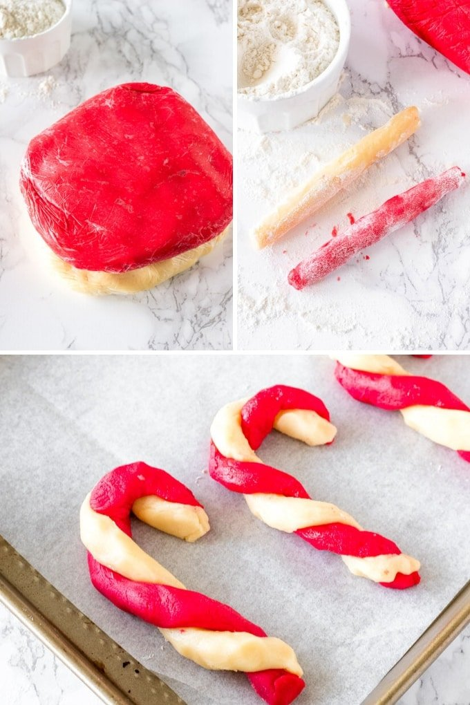 3 process shots showing how to make candy cane cookies