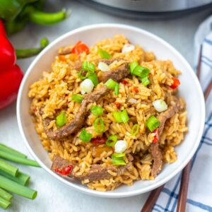 A bowl of pepper steak with rice
