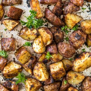 Close up of diced roasted red potatoes