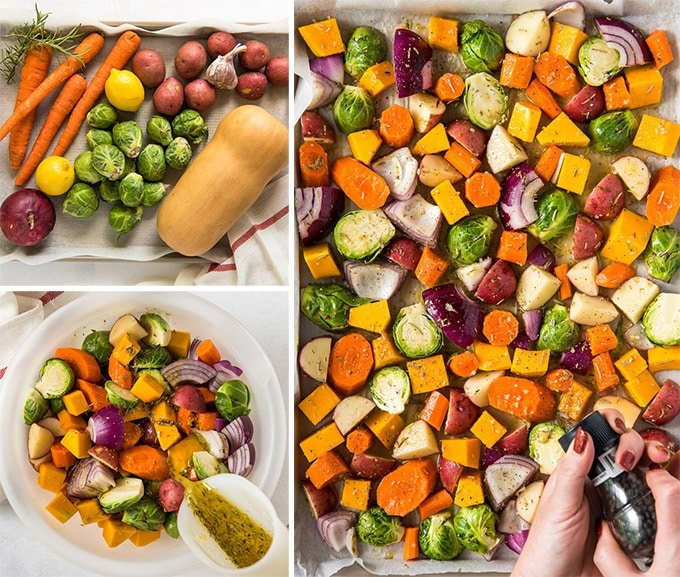 collage of 3 images showing the steps for making roasted vegetables