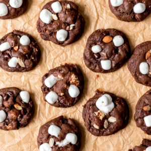 sheet pan with rocky road cookies