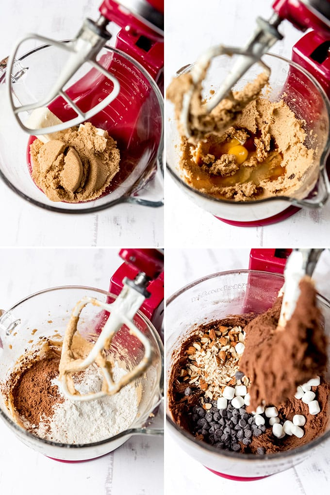 A collage of images showing the steps for mixing rocky road cookie dough.