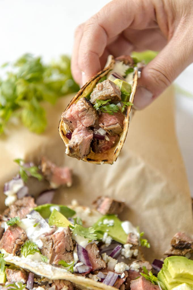 street taco with steak
