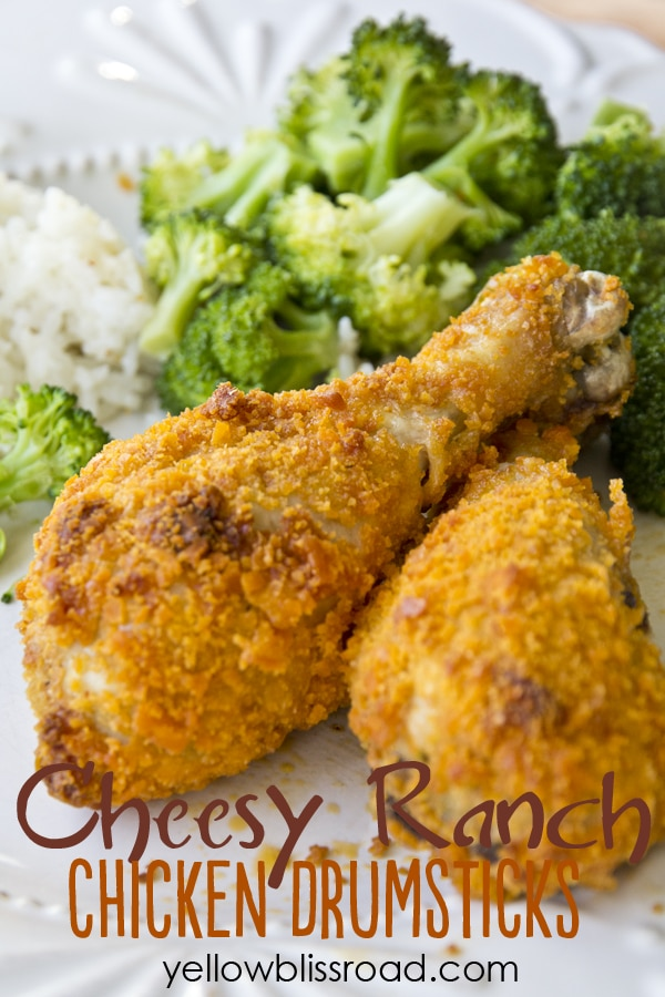 chicken drumsticks coated in cheese-its next to broccoli on a plate