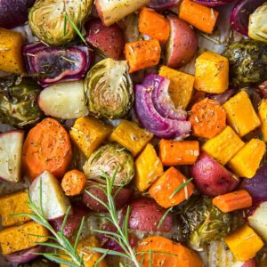 A close up of many different roasted vegetables.